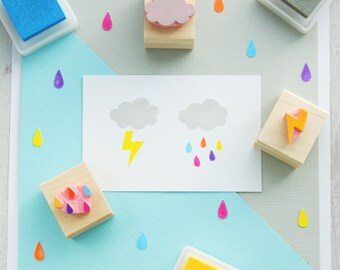 Rain Cloud set of 3 Hand Carved Rubber Stamps - Raindrops  - Rain Drops  - Thunderbolt  - Thunder Cloud  - Lightening - Gift for Cloud Lover