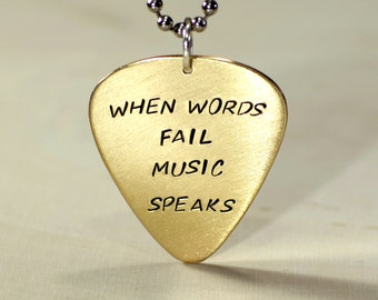 When words fail music speaks soild 14K yellow gold guitar pick necklace - NL500G