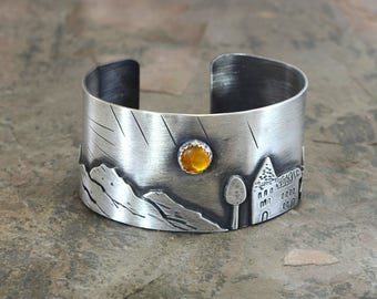 Harvest Moon over a Small Town Artisan Sterling Silver Cuff Bracelet – Where the Nature meets the City Solid 925 BR2071