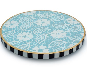 Lazy Susan, Turntable, Hand Painted, Wood, Flower, Floral Pattern, Blue, Lace Design