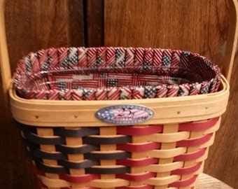 Gorg 1st Edition Longaberger 20th Century Flag Basket --New Cond--HARD Find--Triple signed by Longabergers