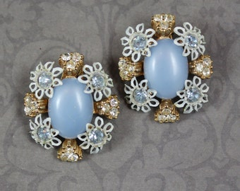 Vintage Enamel White, Blue and Gold Floral Rhinesotne Oval Clip On Earrings