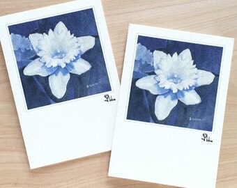 daffodil flower card set, botanical note cards, art print stationery, flower invitations, blue and white