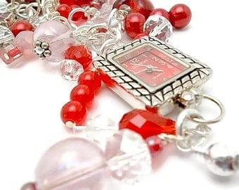 Purse Charm Watch/Red,Pink/Watch Charm/ Zipper Pull/ Watch/ Belt Loop Watch