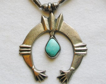 Southwest Sterling Silver Turquoise Sand Cast Naja Squash Blossom Necklace