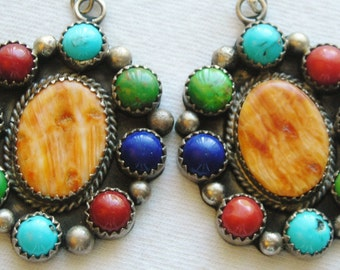 Navajo Sterling Silver Spiny Oyster Multi-Stone Cluster Earrings