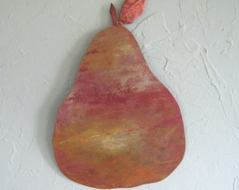 Kitchen art metal wall pear sculpture wall decor Comice Pear reclaimed metal wall art