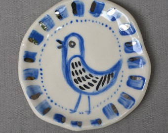 Blue and Silver Bird small handmade hand painted ceramic art dish