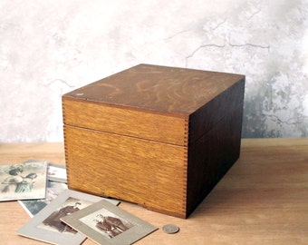 Vintage Wooden Index Card Box - Dovetail Oak File Box - Oversize Wood File Box