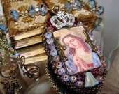 French prayer card Mary praying Picasso beads pendant prayer necklace Sacred Jewelry Pamelia Designs