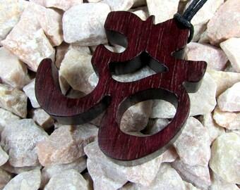 Yoga  / Om or Aum Symbol / Pendant  / Charm / Purple Heart Wood