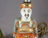 Valentines Lovers SALE 1930s Asian Buddha Offering Porcelain Moriage Antique Lamp