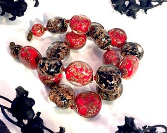 Valentines Lovers SALE Art Deco Italian Red Black Gold Speckle Murano Art Glass Vintage Necklace