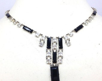 Spring Sale Beautiful French Art Deco Open Back Black Clear Crystal Sterling Silver Vintage Necklace Art Deco Jewelry