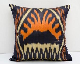 15x15 ikat pillow cover, orange, beige, dark blue cushion case, ikat, ikats, pillows, sofa pillow, interior cushions, ikat design