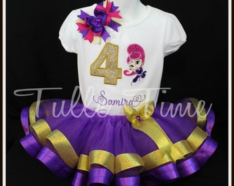 1st 2nd 3rd 4th Number Shimmer and SHINE birthday ribbon tutu dress size 12m 18m 2t 3t 4t 5t 6 7/8