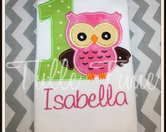 Baby's First 1st birthday Owl theme Onesie bodysuit  pink lime brown  6-12m , 12 months 18 months 24 months