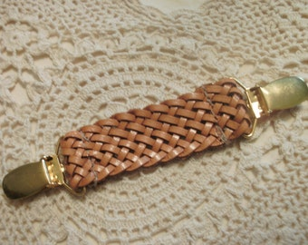 Dress Clip  Woven Tan Leather  Gold Tone Clips