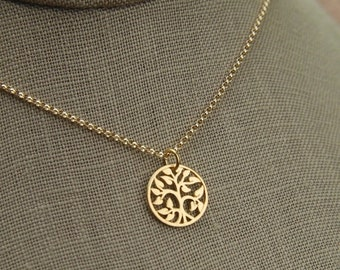 SALE 15% OFF Small gold tree of life pendant and gold filled necklace, gold tree pendant, gold necklace, gold jewelry, matte gold