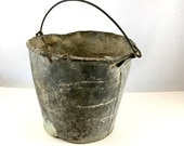 Old Farm Pail. Antique Galvanized Steel Farm Bucket. Shabby Metal Bucket. Planter, French Country Decor. Farm House, Industrial Bucket,
