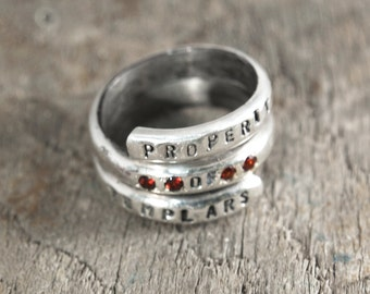Personalized Ring - Birthstone Ring - Mothers Ring - Stackable Rings - Name Ring - Hand Stamped Ring - Sterling Silver Ring