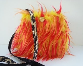 Faux Fur Purse / soft grunge / small crossbody bag/orange purse/ Cat lover gift /ready to ship / funky purse /bags purses / Item #CJF11-1002