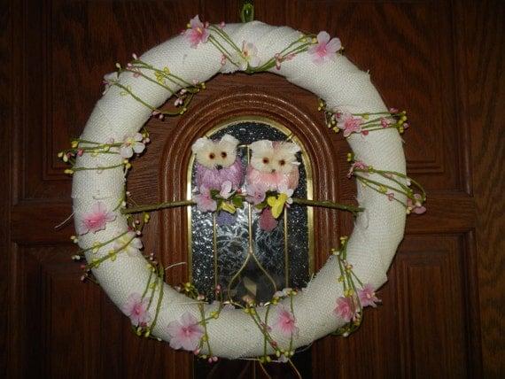 16 flor de buho primavera pascua electrodomsticos celebracin de vacaciones corona puerta prpura arpillera rosa - Electrodomesticos Pascua