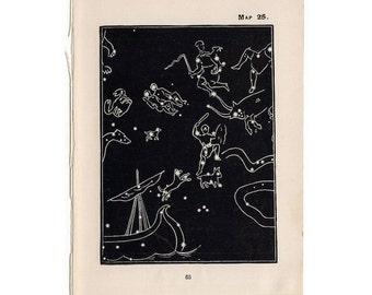 1903 capella quarter stars mini constellation figures original antique celestial astronomy print -  map 25