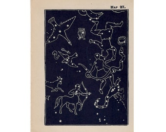 1910 mini constellation figures original antique celestial astronomy print -  map 27