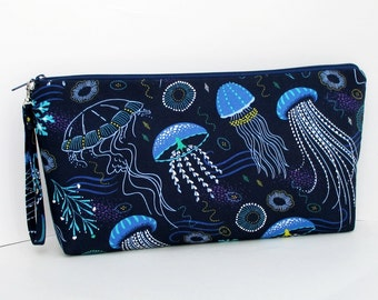 Jellyfish Ocean, Large Blue Zipper Pouch, Padded Zippered Knitting Project Bag