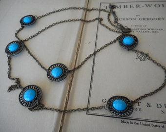 The Satellite Necklace. Rustic Brass & Lucite turquoise concho long layering necklace