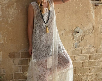 New Collection 2016!!! Ivory white lace maxi dress, romantic dress, wedding dress, prom dress