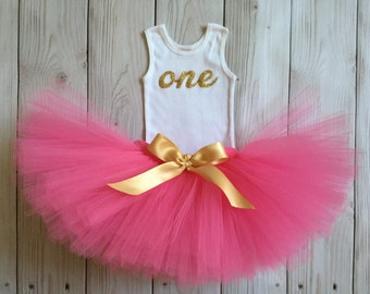 Hot Pink and Gold 1st Birthday Dress Tutu Outfit for Baby Girls, One Top