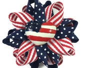 """Red, White & Blue July 4, American Flag 2.5"""" Hair Bows - Handmade - Made To Order - Patriotic Hair Bows - No Slip Clip or Barrette"""