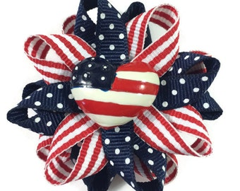 "Red, White & Blue July 4, American Flag 2.5"" Hair Bows - Handmade - Made To Order - Patriotic Hair Bows - No Slip Clip or Barrette"