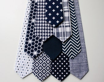 Little and Big Guy NECKTIE Tie - Navy Collection - (Newborn-Adult) - Baby Boy Toddler Teen Man