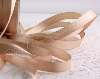"Champagne Satin Ribbon, Blush Double Faced Satin Ribbon, 3/8"" wide by the yard, Weddings, Sewing, Gift Wrapping, Bouquets, Boutonierres"