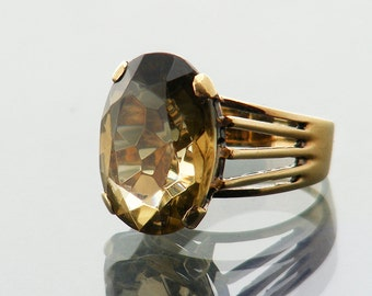 Vintage Citrine Ring | Natural Citrine 9ct Gold Ring | Large Citrine Cocktail Ring | 1980s Statement Ring - US Ring Size 6, UK Ring Size M