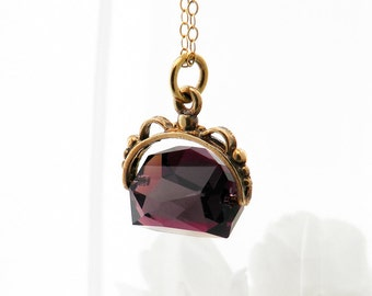 Antique Fob | 9ct Gold & Faceted Amethyst Gemstone Victorian Fob Spinner | 1897 English Gold Hallmarks | Amethyst Pendant - 20 Inch Chain