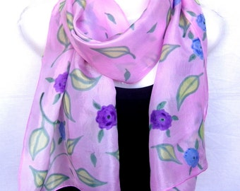 """Hand Painted Silk Scarf, Spring Silk Scarf, Floral, Pastel Pink, Rose Quartz Silk Scarf Handpainted, 71"""" x 18"""", Gift For Her"""
