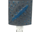 Night Light, Steel Gray and Blue Art Glass with Abstract Textured Design