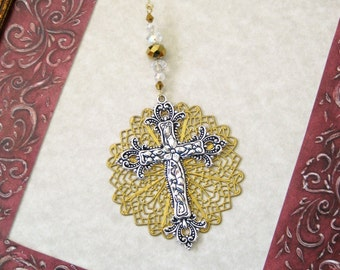Silver Cross Ornament, Cross Ornament, Cross Ornaments, Christian Cross Ornament, Religious Gift, Easter Gift,Gold Filigree,Cross Decoration