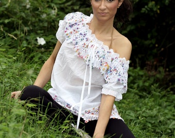 Off Shoulder Top, Cotton Lace Blouse, Cottage Top, White Summer Top, Crochet Blouse, Sexy White Top, Romantic Blouse, Boho Maxi Top