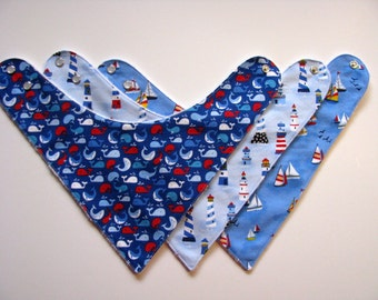 Baby Bibs- 3 Baby Bandana Bibs  Nautical Theme   360 abc