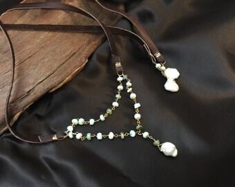 Aqua Bolo Leather Necklace, Gemstone Wrap Lariat Necklace, Leather Choker, Bohemian Chocker, Amazonite and Keshi Pearl Leather Necklace