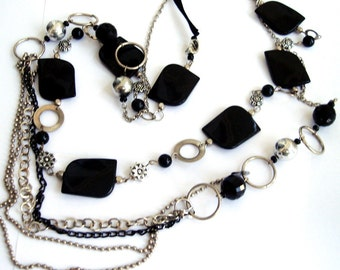 Multistrands chain necklace Black layered necklace beaded long necklace two necklace