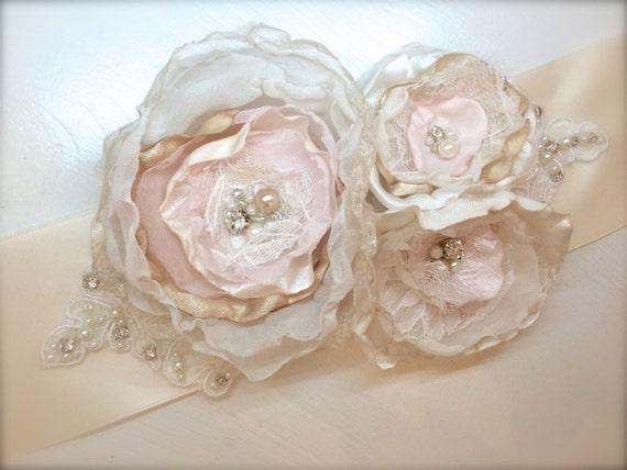 Flower Dress Sash, vintage chic rhinestone beaded lace sash champagne, ivory blush Satin Bridal sash, custom color wedding belt dress sash