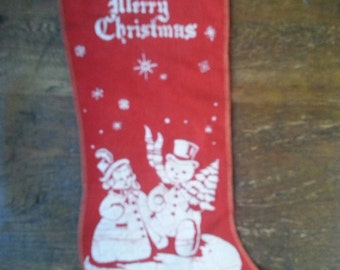 Antique Christmas Stocking With Mr. & Mrs. Snowman