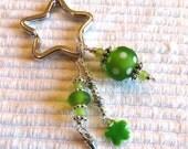 Lampwork beads, Keys, Scissors, Zipper Pull, Fob, Silver Hill Tribe beads, Key Ring, green, dots, glass, tassel, enamel, star