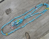 Chalk Turquoise and Cane Glass Necklace
